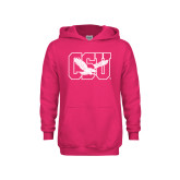 Youth Raspberry Fleece Hoodie-Official Logo
