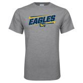 Grey T Shirt-Slanted Eagles w/ Logo