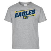 Youth Grey T-Shirt-Slanted Eagles w/ Logo