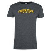 Ladies Dark Heather T Shirt-Arched Coppin State Eagles