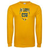 Gold Long Sleeve T Shirt-Softball Plate