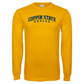 Gold Long Sleeve T Shirt-Arched Coppin State Eagles