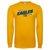 Gold Long Sleeve T Shirt-Slanted Eagles w/ Logo