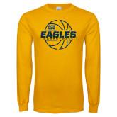 Gold Long Sleeve T Shirt-Eagles Basketball Split Lined Ball