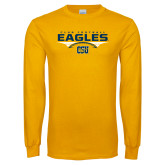 Gold Long Sleeve T Shirt-Eagles Club Football Stacked