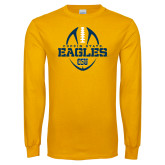 Gold Long Sleeve T Shirt-Coppin State Eagles Football Vertical
