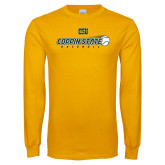 Gold Long Sleeve T Shirt-Coppin State Baseball Flying Ball