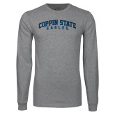 Grey Long Sleeve T Shirt-Arched Coppin State Eagles