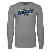 Grey Long Sleeve T Shirt-Slanted Eagles w/ Logo