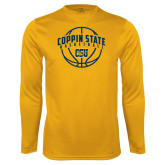 Performance Gold Longsleeve Shirt-Coppin State Basketball Arched w/ Ball