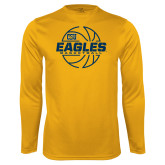 Performance Gold Longsleeve Shirt-Eagles Basketball Split Lined Ball
