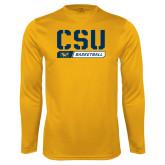 Performance Gold Longsleeve Shirt-CSU Basketball Stencil