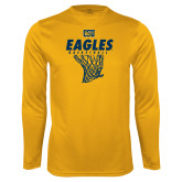 Performance Gold Longsleeve Shirt-Eagles Basketball w/ Hanging Net