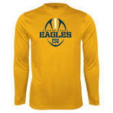Performance Gold Longsleeve Shirt-Coppin State Eagles Football Vertical