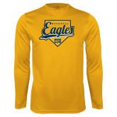 Performance Gold Longsleeve Shirt-Eagles Baseball Plate w/ Script