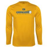 Performance Gold Longsleeve Shirt-Coppin State Baseball Flying Ball