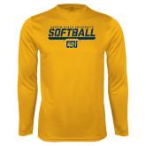 Performance Gold Longsleeve Shirt-Coppin State University Softball Stencil