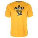 Performance Gold Tee-Eagles Basketball w/ Hanging Net