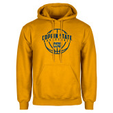 Gold Fleece Hoodie-Coppin State Basketball Arched w/ Ball