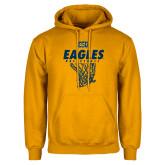 Gold Fleece Hoodie-Eagles Basketball w/ Hanging Net