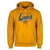 Gold Fleece Hoodie-Eagles Baseball Plate w/ Script