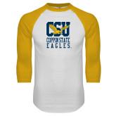 White/Gold Raglan Baseball T-Shirt-CSU Coppin State Eagles
