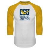 White/Gold Raglan Baseball T-Shirt-CSU Coppin State Athletics