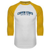 White/Gold Raglan Baseball T-Shirt-Arched Coppin State Eagles