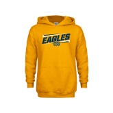 Youth Gold Fleece Hoodie-Slanted Eagles w/ Logo
