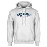 White Fleece Hoodie-Arched Coppin State Eagles