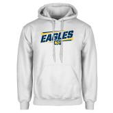 White Fleece Hoodie-Slanted Eagles w/ Logo