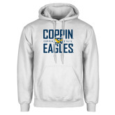 White Fleece Hoodie-Coppin Eagles Stacked