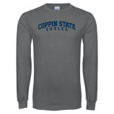 Charcoal Long Sleeve T Shirt-Arched Coppin State Eagles