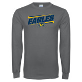 Charcoal Long Sleeve T Shirt-Slanted Eagles w/ Logo