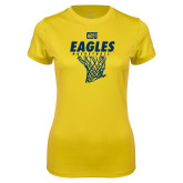 Ladies Syntrel Performance Gold Tee-Eagles Basketball w/ Hanging Net