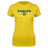 Ladies Syntrel Performance Gold Tee-Eagles Club Football Stacked