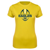 Ladies Syntrel Performance Gold Tee-Coppin State Eagles Football Vertical