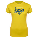 Ladies Syntrel Performance Gold Tee-Eagles Baseball Plate w/ Script