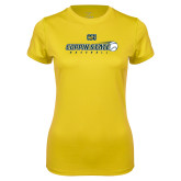 Ladies Syntrel Performance Gold Tee-Coppin State Baseball Flying Ball