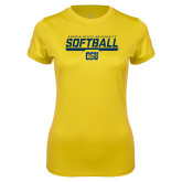 Ladies Syntrel Performance Gold Tee-Coppin State University Softball Stencil