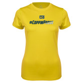 Ladies Syntrel Performance Gold Tee-#CoppinProud