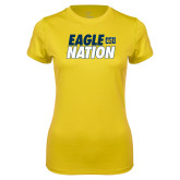 Ladies Syntrel Performance Gold Tee-Eagle Nation