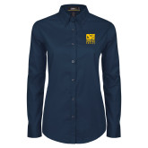 Ladies Navy Twill Button Down Long Sleeve-CSU Coppin State Eagles