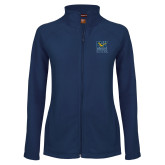 Ladies Fleece Full Zip Navy Jacket-CSU Coppin State Eagles