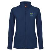 Ladies Fleece Full Zip Navy Jacket-CSU Coppin State Athletics