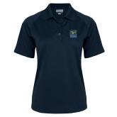 Ladies Navy Textured Saddle Shoulder Polo-CSU Coppin State Athletics