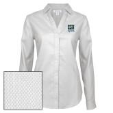 Ladies Red House Diamond Dobby White Long Sleeve Shirt-CSU Coppin State Eagles