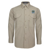 Khaki Long Sleeve Performance Fishing Shirt-CSU Coppin State Eagles