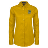 Ladies Gold Twill Button Down Long Sleeve-CSU Coppin State Eagles