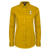 Ladies Gold Twill Button Down Long Sleeve-Block C